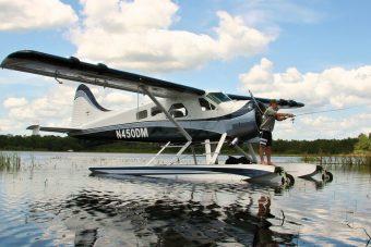 Fishing from a Wipline 6100 float on a de Havilland Beaver