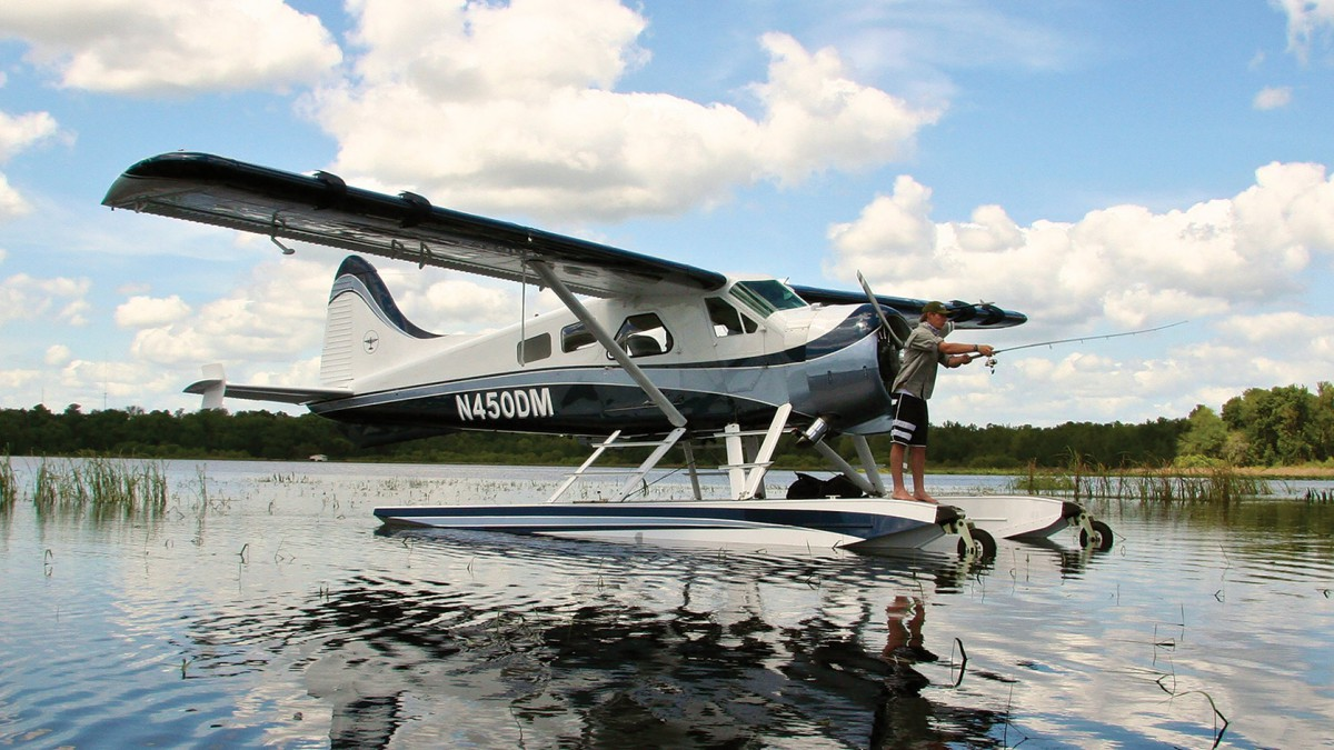 Fishing from a Wipline 6100 float on a de Havilland Beaver