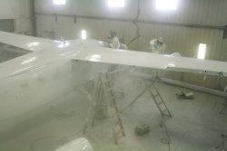 Base Coat of Matterhorn White Being Applied