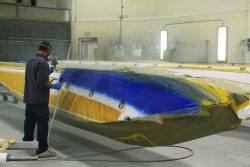 The blue and gold stripes are painted to match the aircraft.