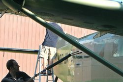 Aircraft being throughly washed before priming.