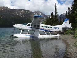 A Cessna Grand Caravan EX after flying in to an Alaskan lake