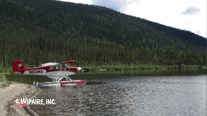 Aviat Husky on Wipline 2100 Amphibious Floats in Alaska