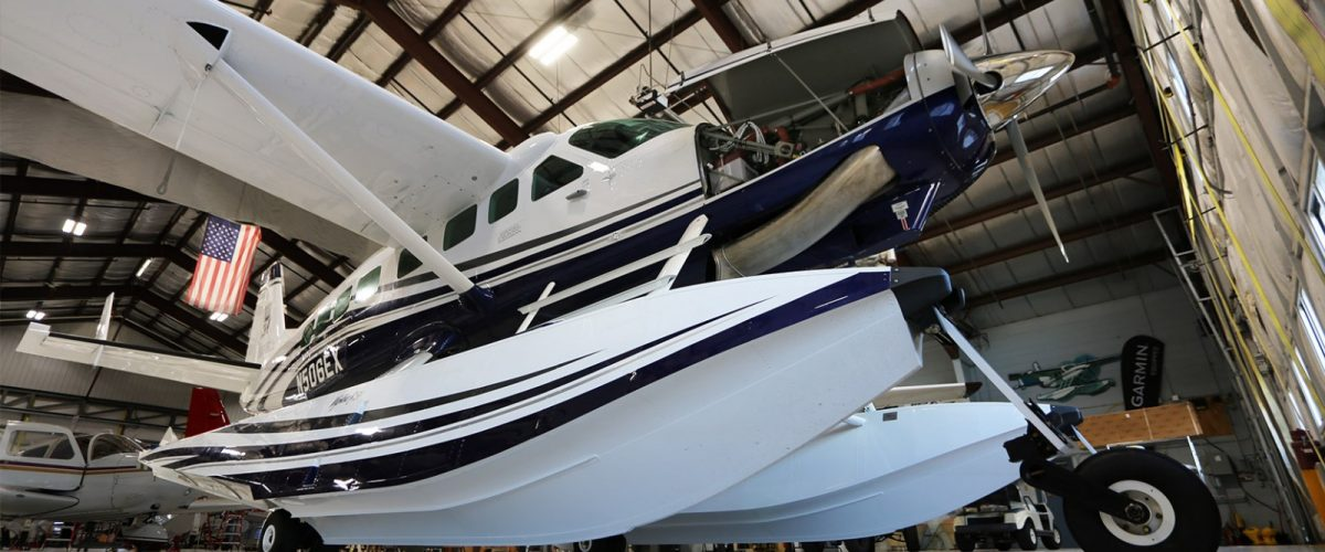 Cessna Grand Caravan in maintenance at Wipaire